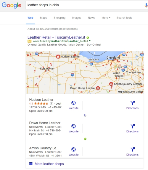 Google search results for leather shops